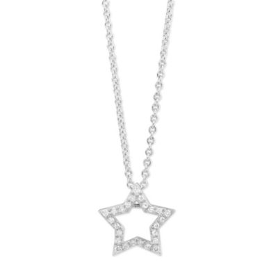 14K White Gold Diamond Open Star Pendant