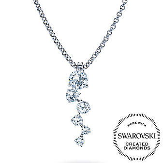 Diama 18K White Gold Signature Swarovski Created Diamond Cluster Pendant
