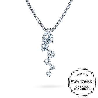 Diama 18K White Gold Signature Swarovski Created Diamond Necklace, Small