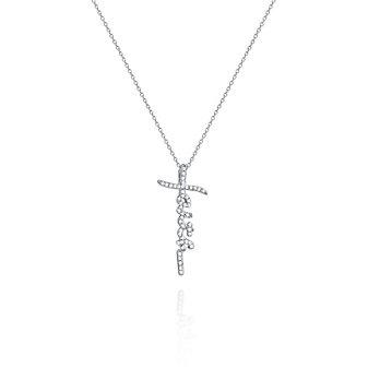 """14K White Gold Diamond Faith Pendant, 18"""""""