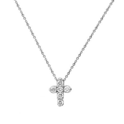 14k white gold diamond mini cross pendant, 16""
