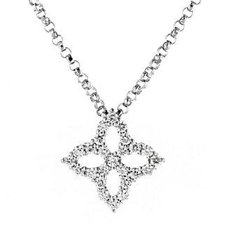 "roberto coin 18k white gold diamond small open princess flower pendant, 18"""