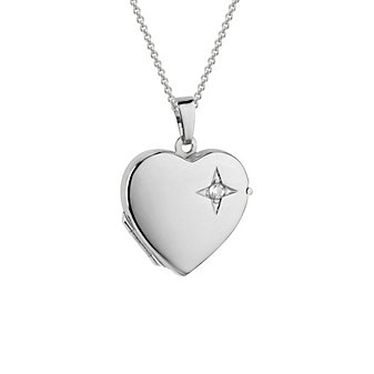 14K White Gold Diamond Heart Locket, 18""