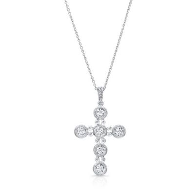 14k white gold diamond cross pendant with milgrain bezel