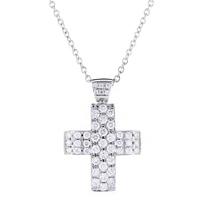 "14k_white_gold_diamond_3_row_cross_pendant,_16"""