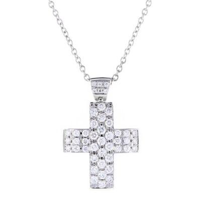 "14k white gold diamond 3 row cross pendant, 16"""