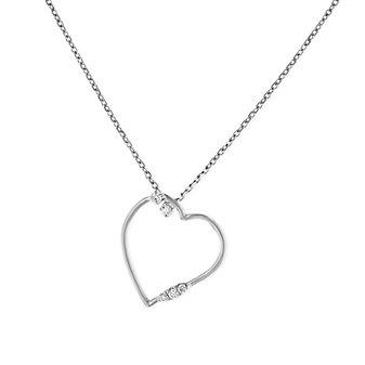 """14k white gold diamond open heart pendant, 16"""""""
