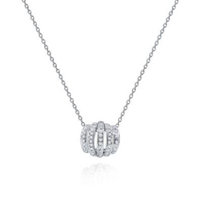 "14k white gold diamond curved 5 row pendant, 18"""