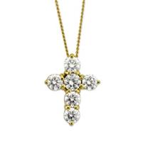 18K_Yellow_Gold_Diamond_Cross_Pendant,_0.75cttw