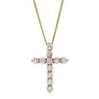 18K_Yellow_Gold_Diamond_Cross_Pendant,_0.50cttw