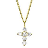 18K_Yellow_Gold_Diamond_Cross_Pendant,_0.23cttw