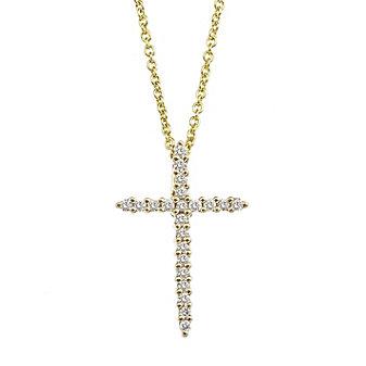 "Roberto Coin 18K Yellow Gold Diamond Cross Pendant, 18"""