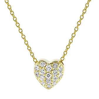 roberto coin 18k yellow gold diamond puffed heart pendant, 18""