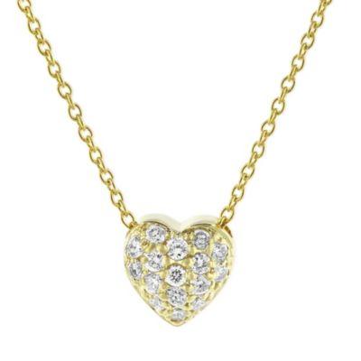 "roberto coin 18k yellow gold diamond puffed heart pendant, 18"""