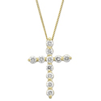 18K_Yellow_Gold_Diamond_Cross_Pendant,_1.00cttw