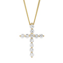 18K_Yellow_Gold_Diamond_Cross_Pendant,_0.50cttw