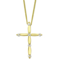18K_Yellow_Gold_Scalloped_Diamond_Cross_Pendant,_0.14cttw