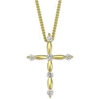 18K_Yellow_Gold_Scalloped_Diamond_Cross_Pendant,_0.11cttw