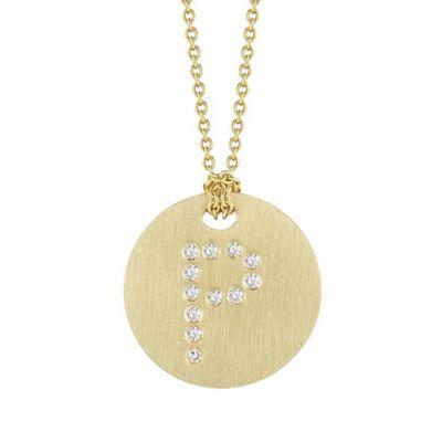 roberto coin 18k yellow gold diamond p initial pendant