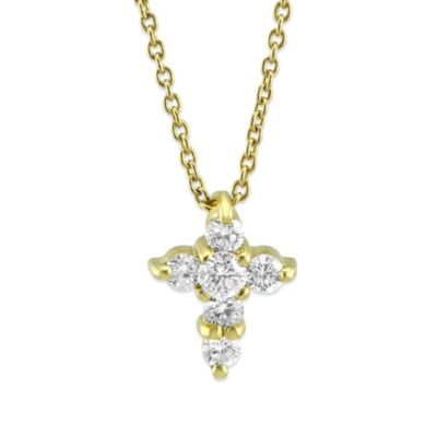 Roberto Coin 18K Yellow Gold Diamond Cross Pendant, 0.20cttw