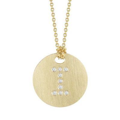 "roberto coin 18k yellow gold diamond i initial pendant, 18"""