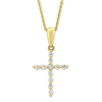 14K Yellow Gold Diamond Cross Pendant, 0.11cttw