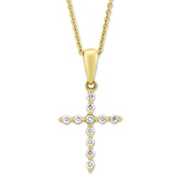 14K_Yellow_Gold_Diamond_Cross_Pendant,_0.11cttw