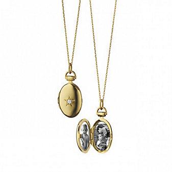 Monica Rich Kosann 18K Yellow Gold Petite Oval Diamond Star Locket