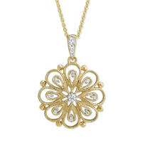 14K_Yellow_Gold_Filigree_Flower_Diamond_Pendant,_0.06cttw