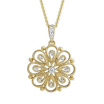 14K Yellow Gold Filigree Flower Diamond Pendant, 0.06cttw