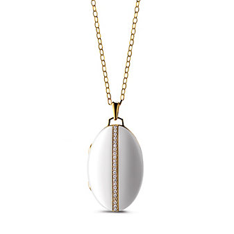 Monica Rich Kosann Oval White Ceramic and Diamond Locket