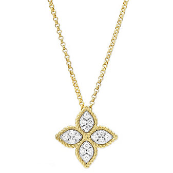 Roberto Coin 18K Yellow & White Gold Princess Flower Diamond Pendant