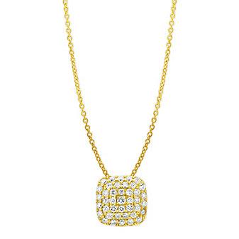 "14K Yellow Gold Cushion Shaped Diamond Pendant, 16"""