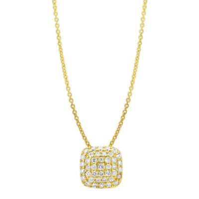 14K Yellow Gold Cushion Shaped Diamond Pendant, 16""