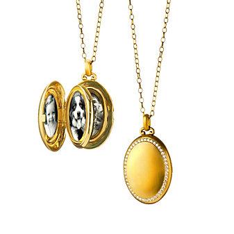 Monica Rich Kosann 18K Yellow Gold Four Photo Premier Diamond Locket