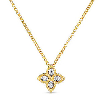 roberto coin 18k yellow & white gold diamond princess flower pendant