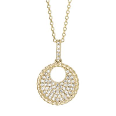 14K Yellow Gold Diamond Open Circle Pendant, 18""