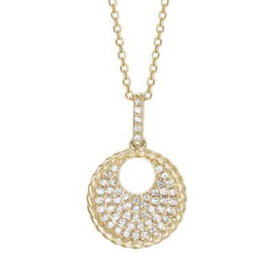 "14K Yellow Gold Diamond Open Circle Pendant, 18"""
