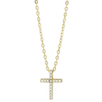 14K_Yellow_Gold_Prong_Set_Diamond_Cross_Pendant