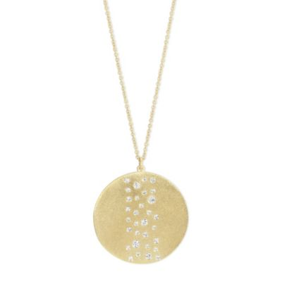 14K Yellow Gold Round Diamond Scatter Hammered Circle Pendant