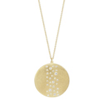 14K_Yellow_Gold_Round_Diamond_Scatter_Hammered_Circle_Pendant
