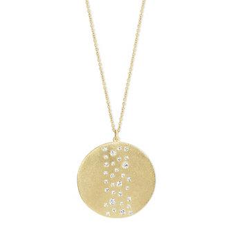 14K Yellow Gold Round Diamond Scatter Hammered Circle Pendant