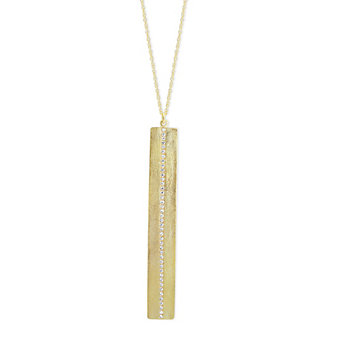 14K Yellow Gold Round Diamond Vertical Bar Pendant