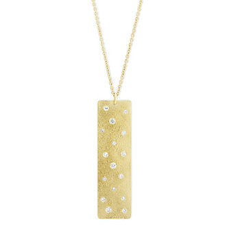 14K Yellow Gold Round Diamond Scatter Bar Pendant