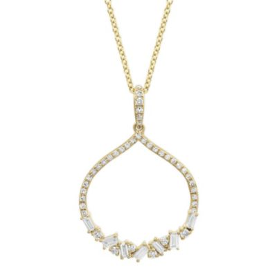 14K Yellow Gold Diamond Open Pointed Pendant, 16""