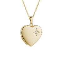 "14K_Yellow_Gold_Diamond_Heart_Locket,_18"""