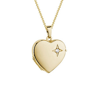 14K Yellow Gold Diamond Heart Locket, 18""
