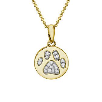 "14K Yellow Gold Diamond Paw Print Pendant, 18"""