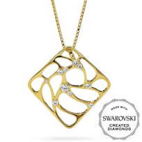 Diama_18K_Yellow_Gold_Lace_Swarovski_Created_Diamond_Square_Pendant