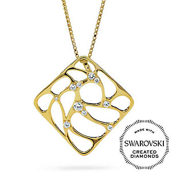 Diama 18K Yellow Gold Lace Swarovski Created Diamond Square Pendant